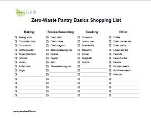 Zero Waste Pantry Basic List