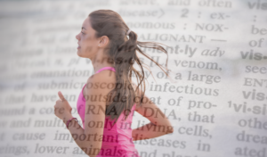 image of women running super imposed over a dictionary page