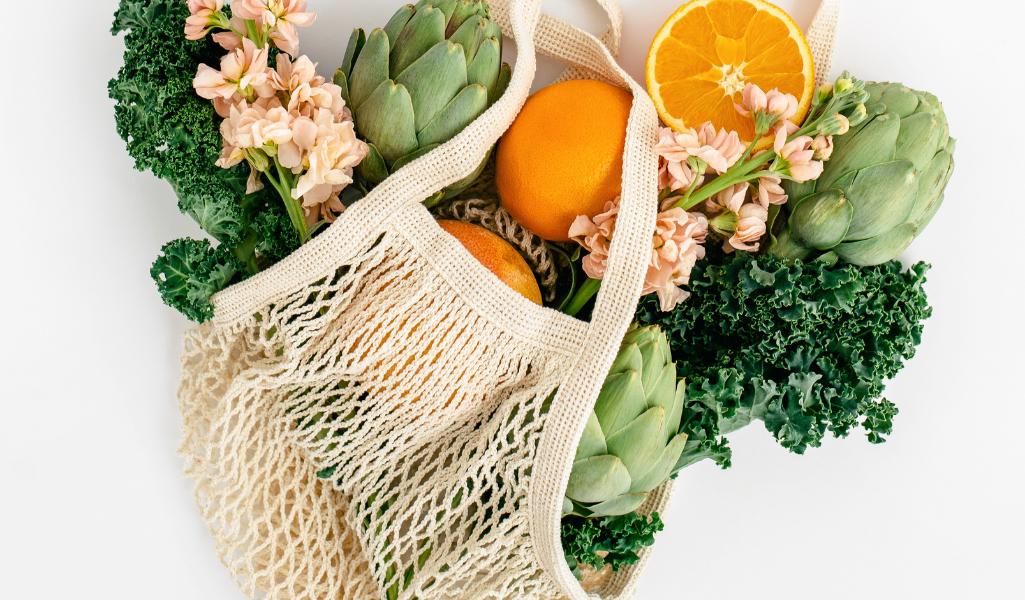 image a mesh produce bag, encouraging Going Plastic-Free