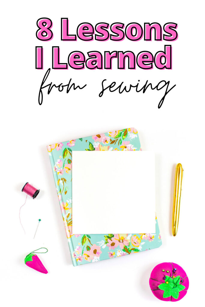 Image of a notebook and sewing  notions.